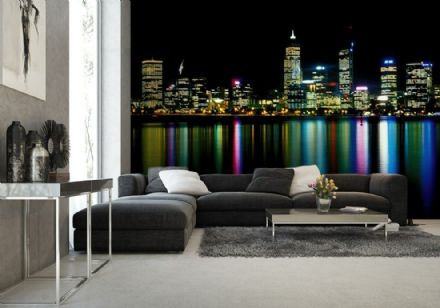 "Bedroom wallpaper City Perth at night ""Neon"""